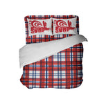 kids red, white and blue plaid comforter with surf pillowcases
