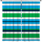 Blue, Green and White Beach Stripes Curtains