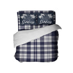 KIDS BLUE AND WHITE SURFER PLAID DUVET COVER WITH SURFING PILLOWCASES FROM KIDS BEDDING COMPANY
