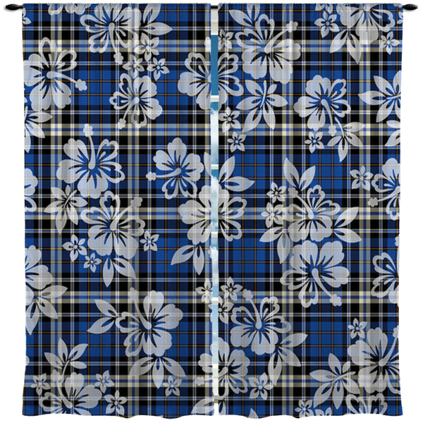 SURFER PLAID HAWAIIAN SURF STYLE WINDOW CURTAINS