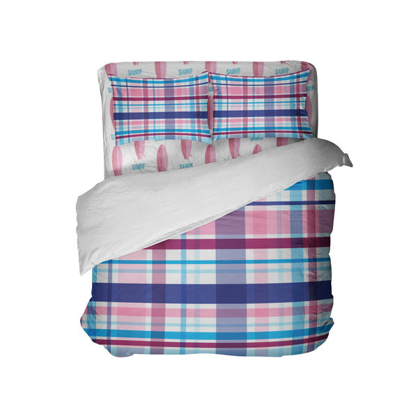 SURFER GIRL PLAID COMFORTER AND PILLOWCASES SHOWN WITH PINK SURFBOARDS SHEET SET