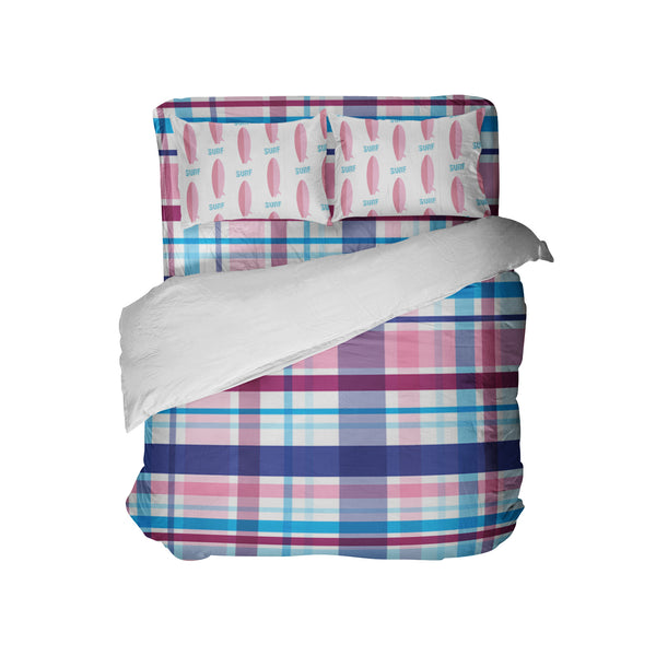 PINK AND BLUE PLAID DUVET COVER WITH PINK SURFBOARDS PILLOWCASES FROM KIDS BEDDING COMPANY