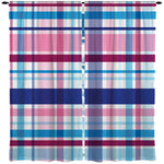 PREPPY PINK AND BLUE SURFER PLAID WINDOW CURTAINS