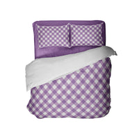 GIRLS PREPPY PURPLE GINGHAM COMFORTER WITH PURPLE SHEETS FROM KIDS BEDDING COMPANY