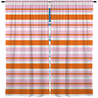 PREPPY PINK AND ORANGE STRIPES WINDOW CURTAINS
