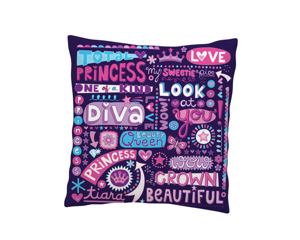 PRINCESS DIVA THROW PILLOW COVER FROM KIDS BEDDING COMPANY