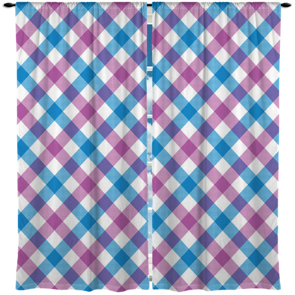 Preppy Purple and Blue Gingham Window Curtains from Kids Bedding Company