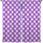 PURPLE GINGHAM WINDOW CURTAINS
