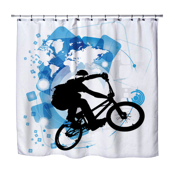 Kids BMX Rad bike rider shower curtain  from Kids Bedding Company