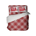 RED AND WHITE PLAID DUVET COVER SET WITH SURF PILLOWCASES FROM KIDS BEDDING COMPANY