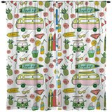Kids Simple Life Pink and Yellow Beach Bus Window Curtains