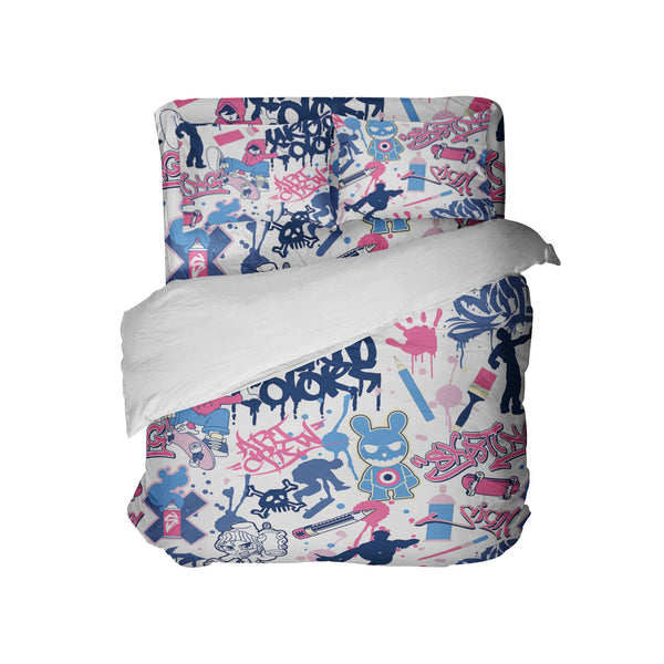 SKATEBOARD GIRLS GRAFFITI COMFORTER SET