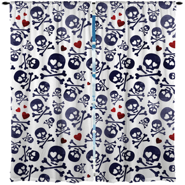 SKULLS IN LOVE WINDOW CURTAINS FROM KIDS BEDDING COMPANY