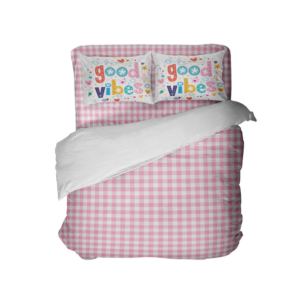 PINK GINGHAM COMFORTER SET WITH GOOD VIBES PILLOWCASES FROM KIDS BEDDING COMPANY