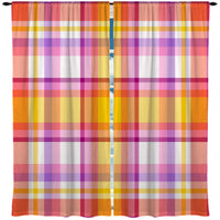 girls summertime madras plaid curtains