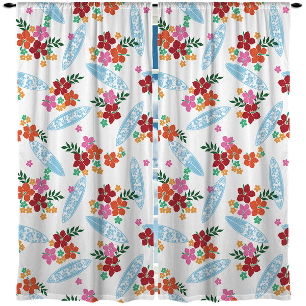SURFER GIRL SURFBOARDS HAWAIIAN PRINT CURTAINS