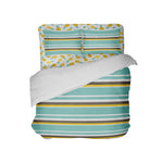 sea foam teal, brown, yellow, white beach stripes comforter with pineapples sheet set