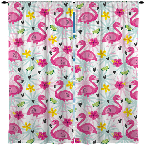 KIDS TROPICAL FLAMINGOS WINDOW CURTAINS