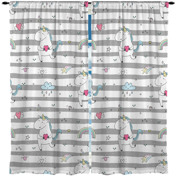 UNICORNS AND RAINBOWS WINDOW CURTAINS FROM KIDS BEDDING COMPANY