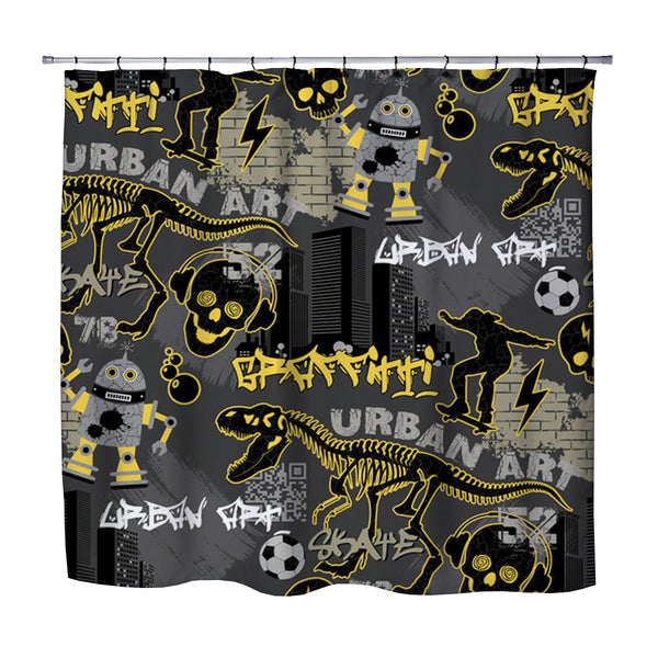 Kids Graffiti Skateboard Shower Curtain