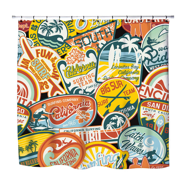 VINTAGE SURF STICKERS SHOWER CURTAIN FROM SURFER BEDDING