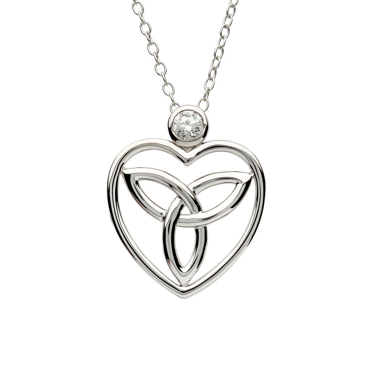 Celtic Trinity Knot Pendant Adorned With A Crystal