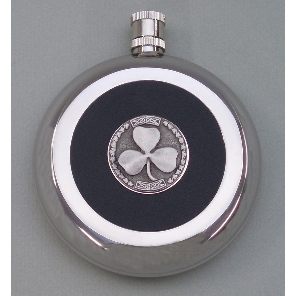 Irish Silver Finish and Pewter Flask shamrock
