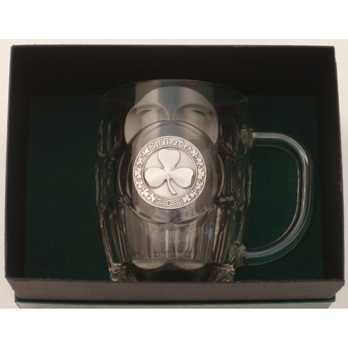 Heavy Beer Mug with Claddagh or Shamrock Pewter Emblem