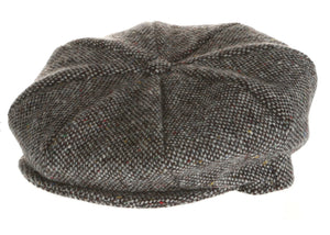 Eight Piece Irish Tweed Newsboy Cap Grey