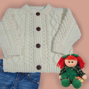 Aran Knit Irish Child's Acrylic Cardigan