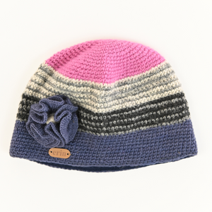 Crochet Cap with Flower Blue and Pink