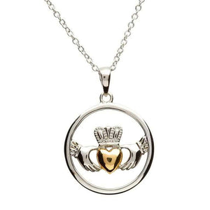 Claddagh Sterling Silver  with Real 10K Gold Heart Jewelry