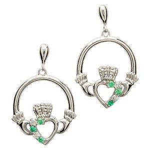 Silver green/CZ Claddagh Jewelry