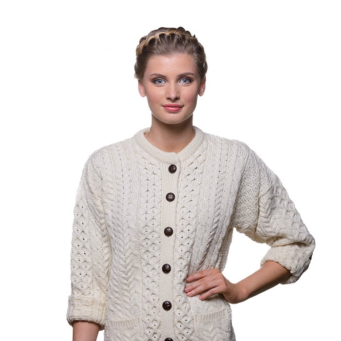 Natural Traditional Ladies 100% Merino Aran Cardigan