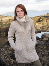 Parsnip Double Collar Aran Cable Knit Irish Sweater
