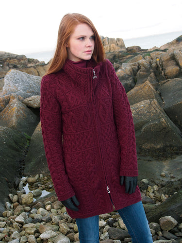 Wine Double Collar Aran Cable Knit Irish Sweater
