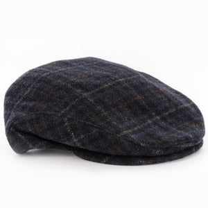 Mucross Weavers Trinity Traditional Wool Irish Flat Cap Charcoal plaid