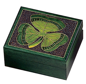 Hand Carved Wood Shamrock Box