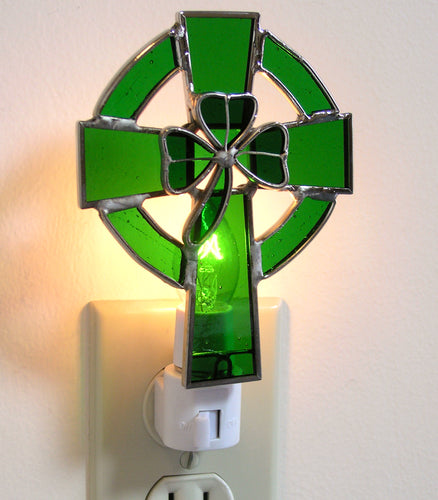 Stained Glass Celtic Cross Night Light
