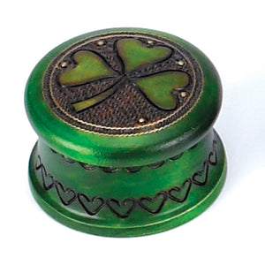 Hand Carved Small Shamrock Wood Jewelry Box