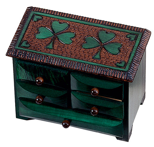 Hand Carved Shamrock Chest of Drawers Jewelry Box