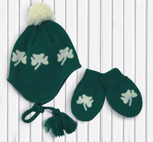 Lucky Shamrock Babies Knit Hat and Mitten Set