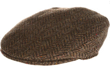 Vintage Tweed Hanna Traditional Irish Flat Cap Brown herringbone
