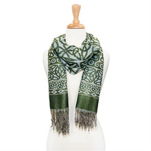 Stunning Trinity Knot Pashmina Green and light blue