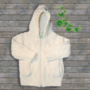 Babies Hooded Aran Knit Acrylic Sweater
