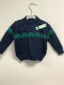 Child's Navy Shamrock Crewneck Sweater with Shamrocks