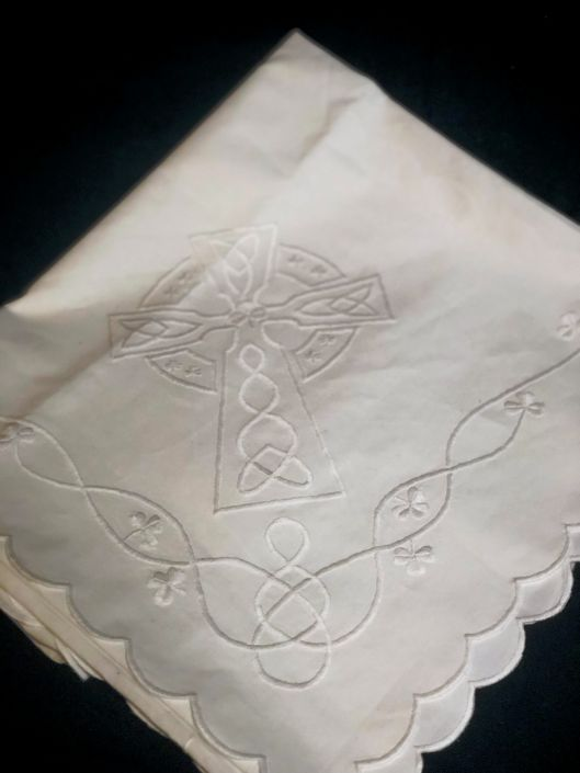 Hand Embroidered Celtic Cross Christening Blanket