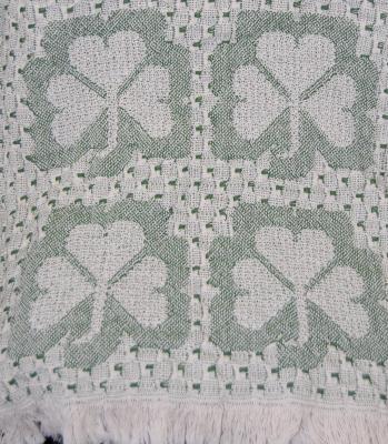 Cream and Green Woven Shamrock Throw