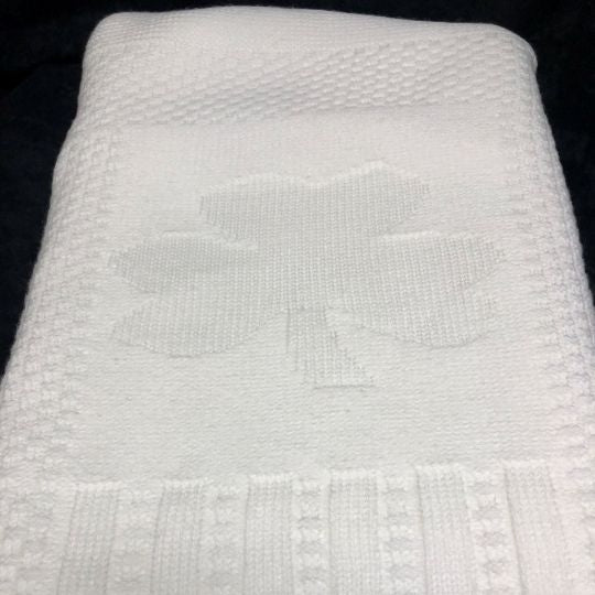 Special Occasion White Shamrock Knit Baby Blanket