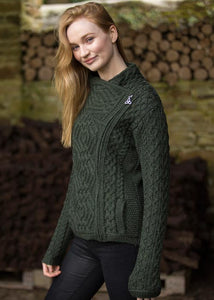Green Fashion Forward Short Aran Side Zip Cardigan